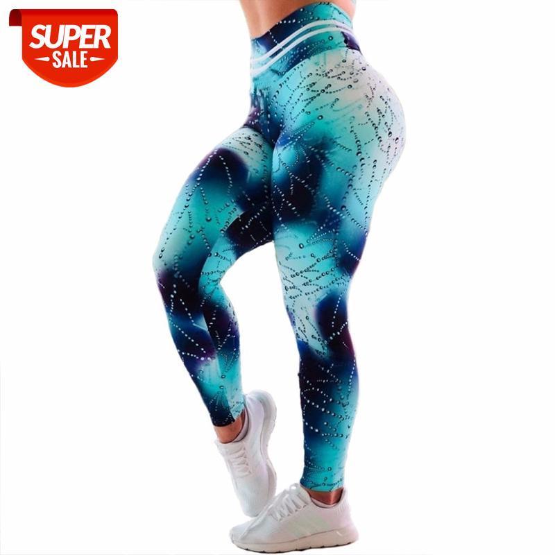 Normov Moda Leggings Mulheres Fitness Fitness Workout para Mulheres Gotas de água 3D Imprimir Legging Cintura alta Empurre as calças de treino # BP2M