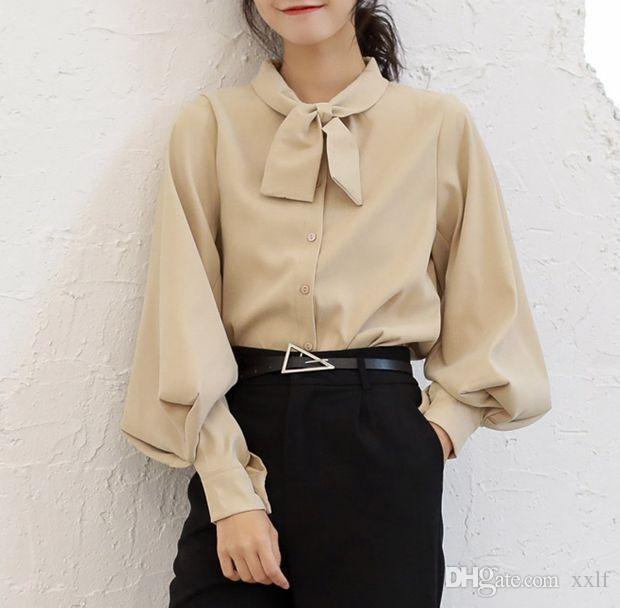 Kostenloser Versand Frau Feminina Frauen Vintage Bluse Mode Kleidung 2020 Frühling Herbst Weiße Langarm Hemden Weibliche D0034