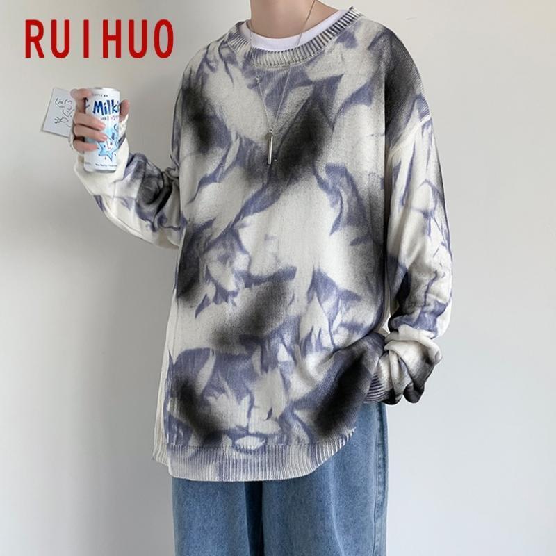 Ruihuo Kravat Boya Vintage Kazak Erkek Giyim 2020 Moda Harajuku Kazak Kazak Erkekler Kazak Kış Giysileri M-3XL