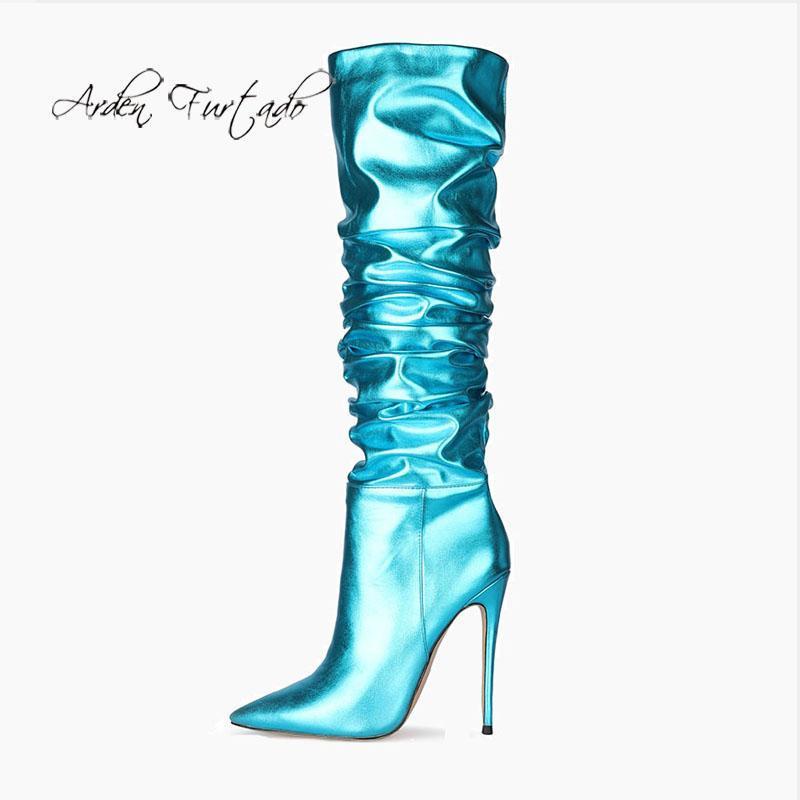 Arden furtado 2021 inverno botas de moda elegante zíper stilettos saltos azuis e ouro elegante joelho botas altas tamanho grande 47