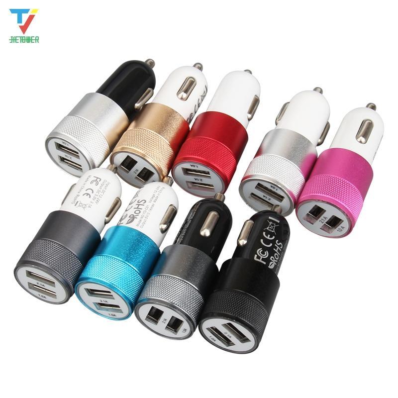 Multicolor DUAL USB 5V 2A Auto Smart Phone PC Cargador de PC Metal Coche portátil Cigarette Charger 100pcs / Lot
