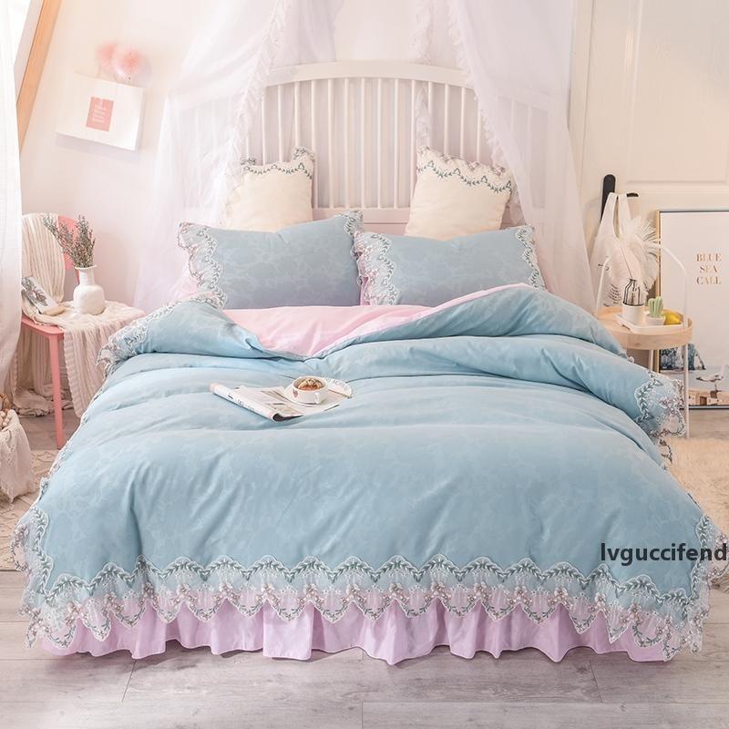 Estilo del borde del cordón de Corea lavada plana sábana cubierta del Duvet de algodón niñas de color rosa Twin Queen Rey 3 / 4pcs