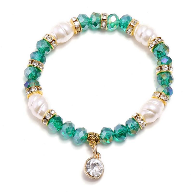 Cristallo di perle di fascino Donne Braccialetto Braccialetto Squisito strass perline Pendente in rilievo Braccialetti Braccialetti Braccialetti Boho Moda Gioielli