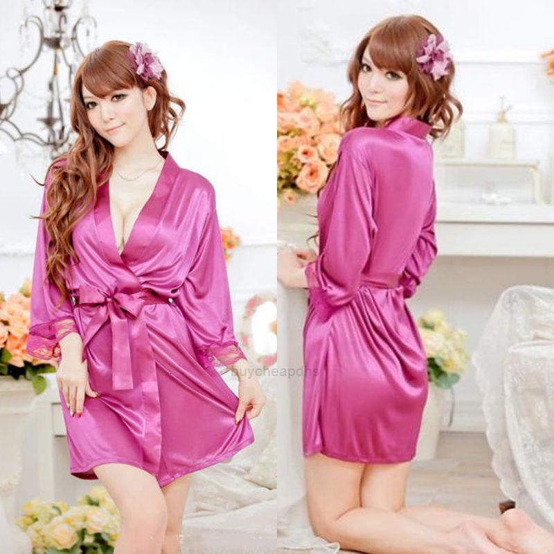 Sexy Robe New Kimono Pizzo Dressing Silk Satin Women Summer Babydoll Lingerie Nightdress Pigiama Sleepwear Accappatoio Xhofm5
