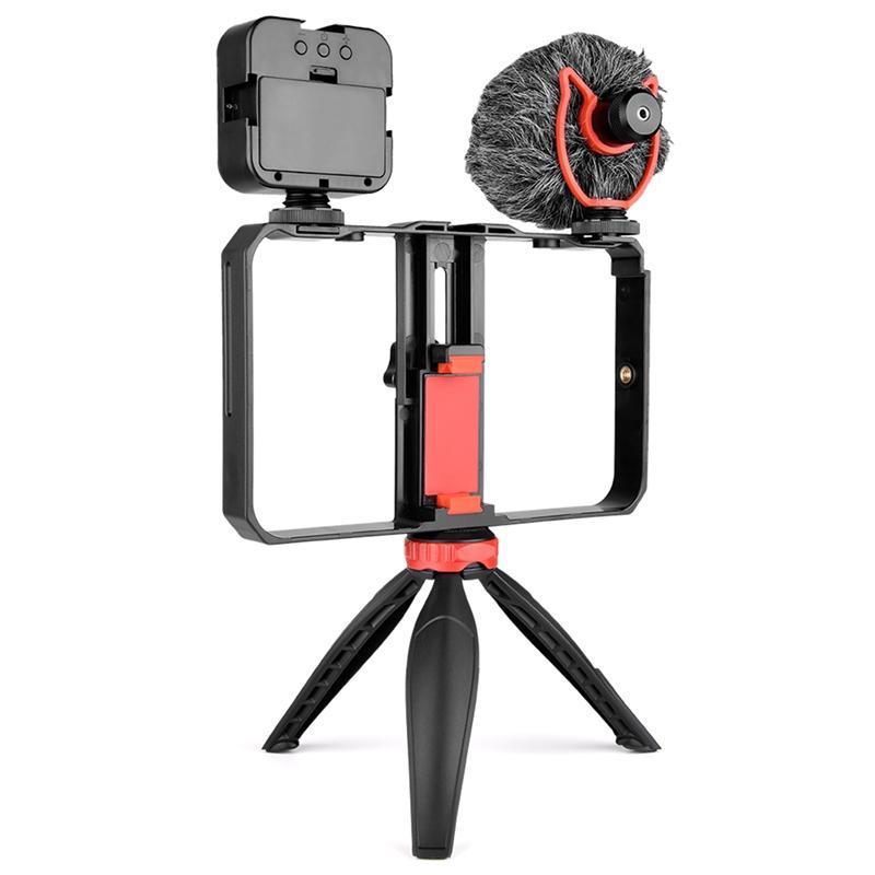 Yelangu PC204 Smartphone Video Rig Monta Cinema de Filme Handheld Phone Video Stabilizer Stabilizer Grip Tripod Mount Stand