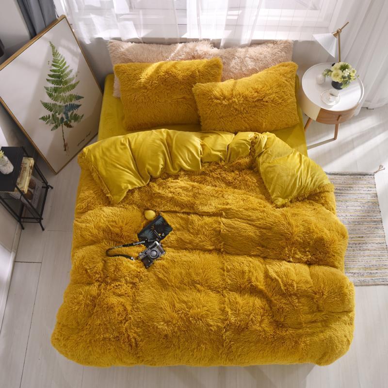 Set di biancheria da letto FAUX FUR Consolatore Set 21 Colori Coral Fleece Fleeted Sheet Cover Duvet Cover Cover Copriletto Copriletto sul letto con banda elastica