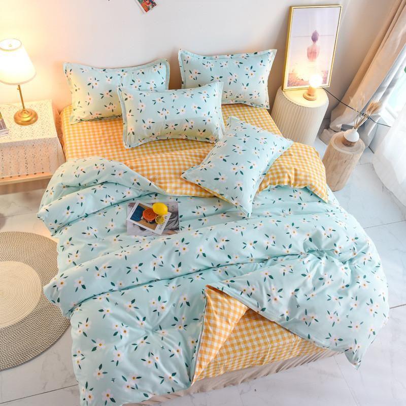 Blue Flower Grid Print Girl Boy Kid Bed Cover Set Cover Duvet Cover Adulto Bambino Bed Lenzuoli e federas Consolatore Set di biancheria da letto 61071
