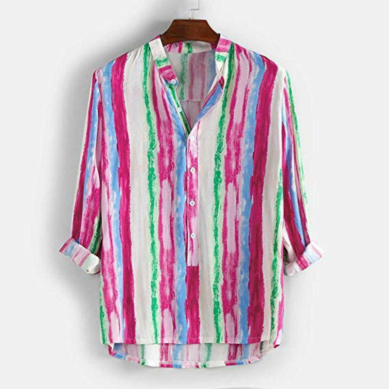 2019 Newest Men Blusa Otoño Moda Hombres Rainbow Stripe Camisa de manga larga Blusa Soporte Cuello Casual Camisetas Tops1