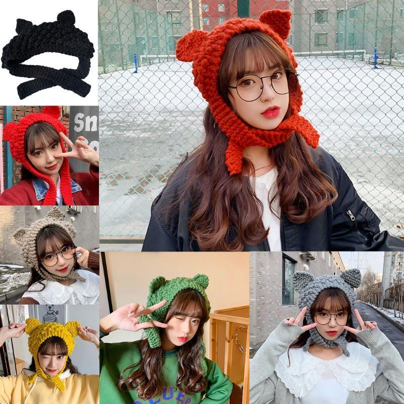 Donne carino gatto orecchie maglia beanie cappello solido color chunky all'uncinetto caldo auricolari