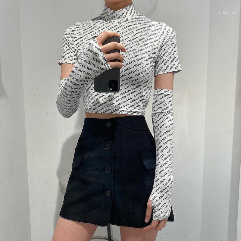 Женская футболка европейская и американская мода с короткими рукавами открытого пупка письма круглые шеи плюс рукава большим пальцем манжеты весной летние женщины
