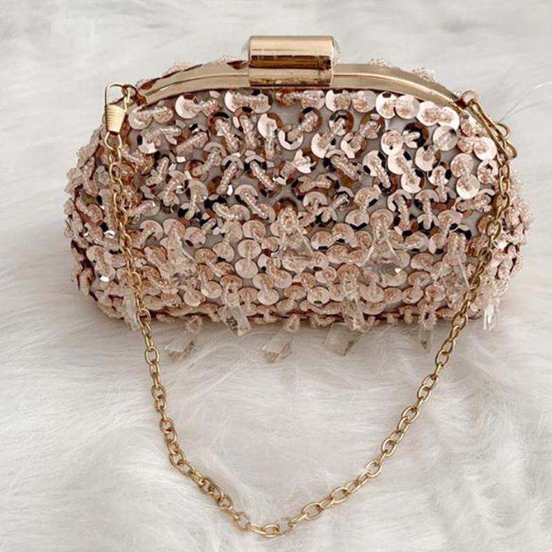 Bestes Weihnachtsgeschenk Perlen Strass Clutch Bag Abend Geldbörse Pailletten Frauen Party Kupplungen Damen Mini Kette Schulter Handtaschen