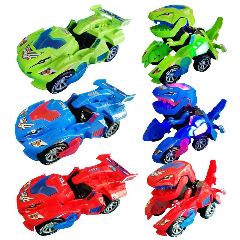 LED Deformed Dinosaur Car Led Car Universal Wheel deform Robot Vehicle Toy With Lights Sounds Christmas Gift for Kids F1211