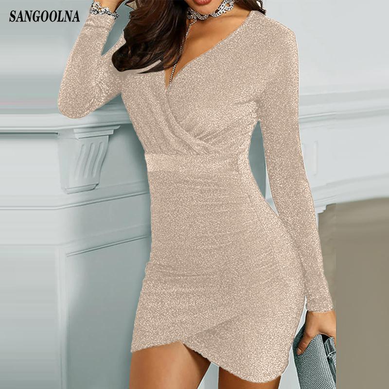 반짝이 드레스 여성 반짝 이는 드레스 패션 순수한 컬러 V 넥 스팽글 긴 소매 파티 미니 드레스 2020 년 새해 드레스 숙녀