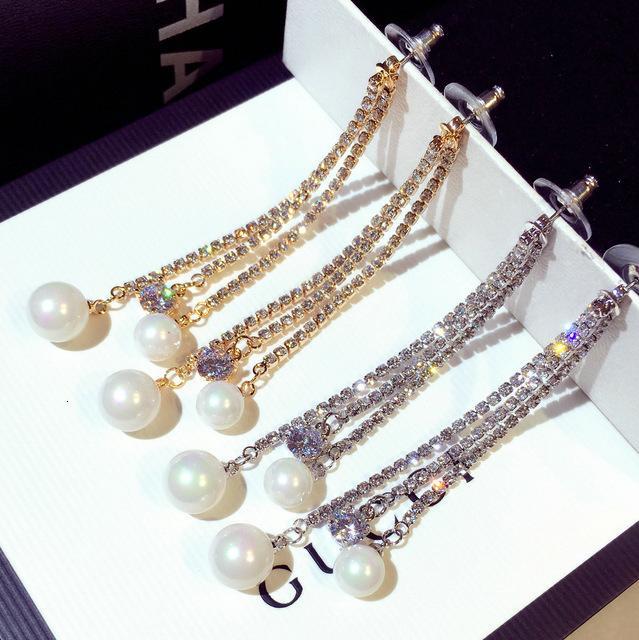 Neue Mode koreanische übertriebene übertriebene lange exquisite Nachahmung Pearl mit Strass Temperament-Ohrringe E001628