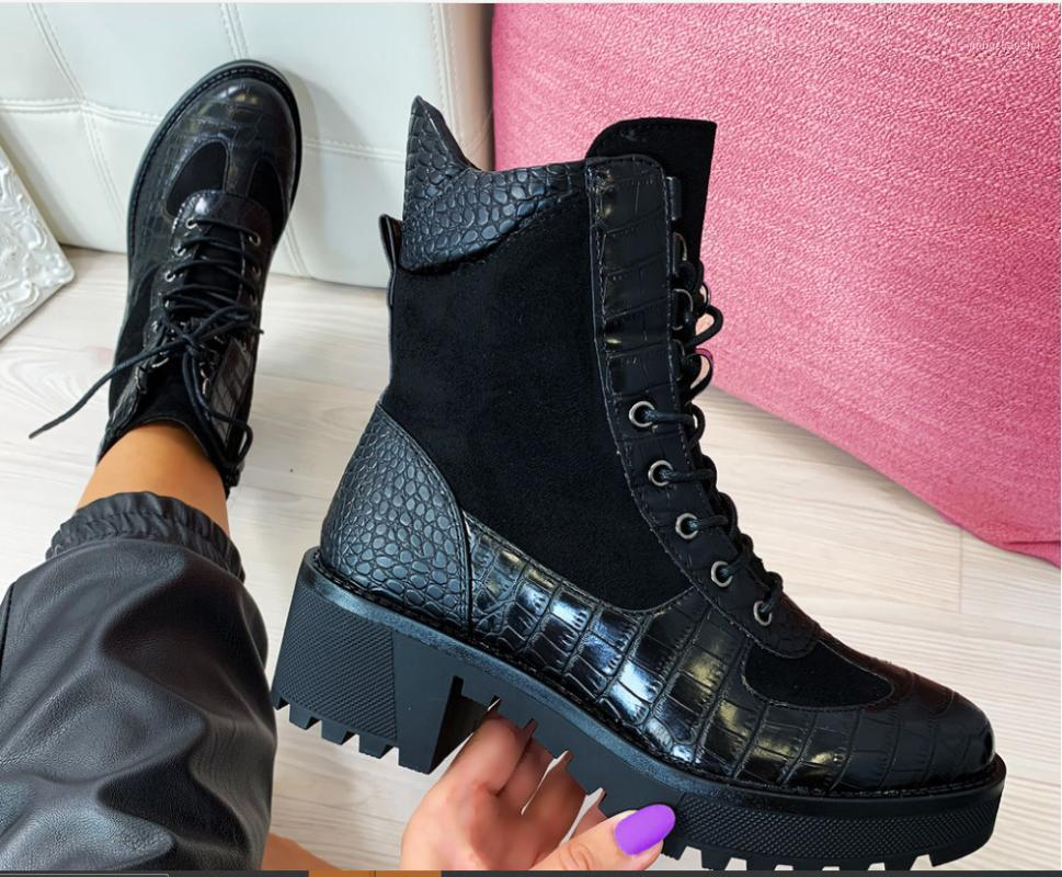 New 2020 Winter Women Boots Square Heel Snakeskin Boots Genuine Leather Lace Up Ankle Plus Size 35-43 Botas Mujer1