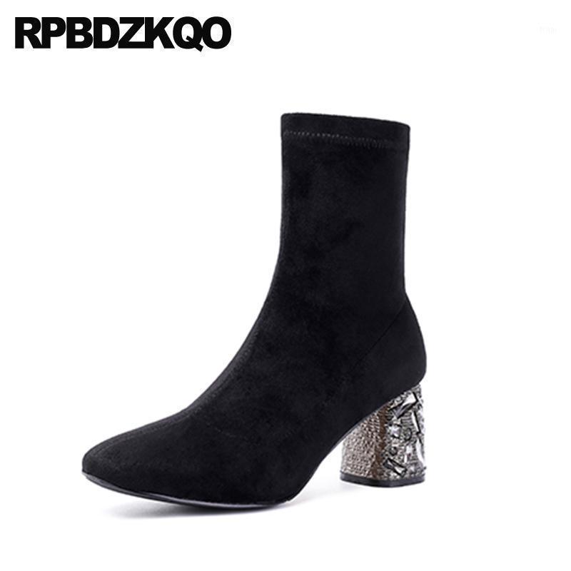Crossdresser Chunky Knit Tobillo Sock tamaño grande 10 Tacón alto Rhinestone Square Toe Black Mujeres Zapatos Metal Botas Moda Elastic1