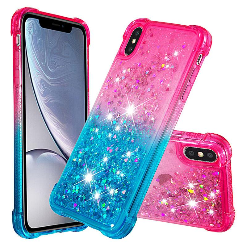 XS Phone6 6S x 7 8 XR Max Luxury Glitter Quicksand Bling Bling Diamond Téléphone pour Sam Sung Ga Laxy S8 Plus S10 L