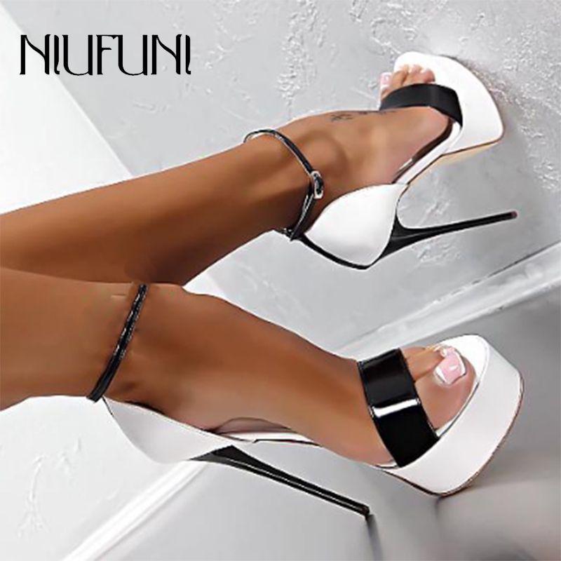 Platform Women Sandals Sexy 16cm Roman Sandals Stiletto High Heels Peep Toe Belt Buckle Nightclub Wedding Shoes Plus Size 34-46Z0122