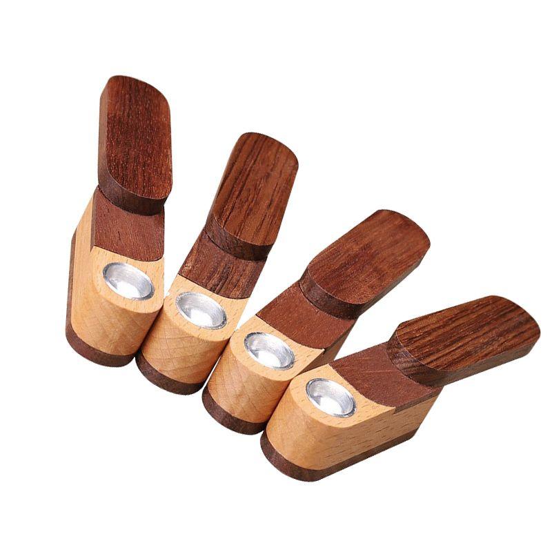 Tabakpfeifen Holzpfeife mit Metallschüssel Glasrohr Wasserbongs Schöne Smart Blick in Holz Material Glas Raucherrohre