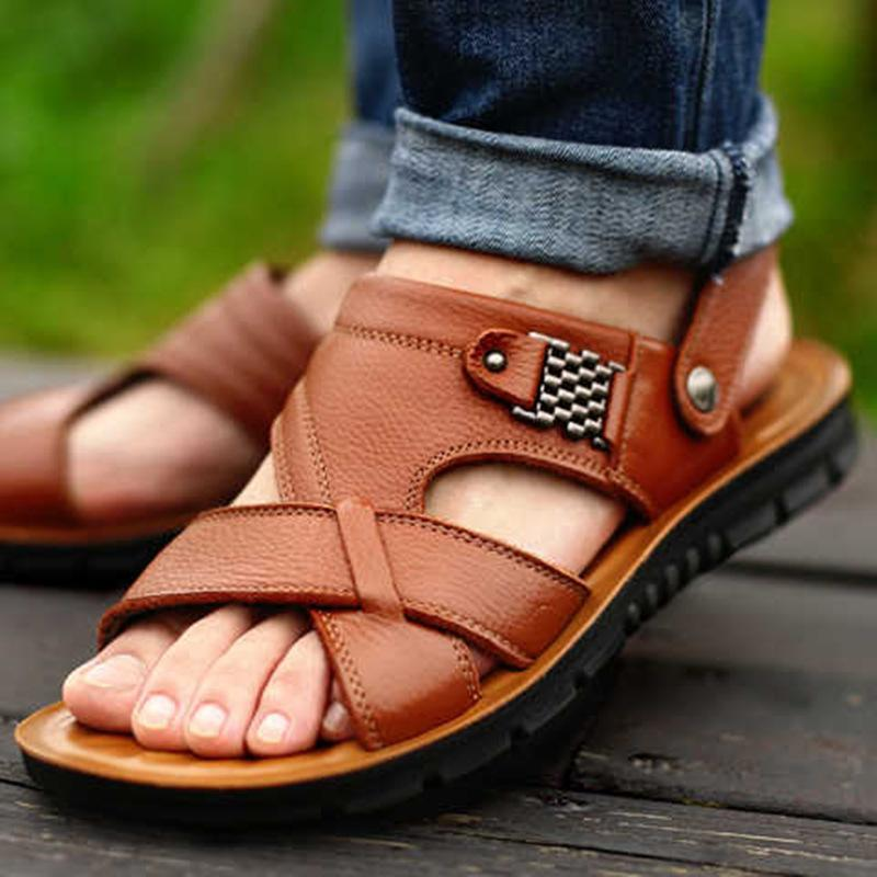 Big Size 48 Men Leather Sandals Summer Classic Men Shoes Slippers Soft Sandals Men Roman Comfortable Outdoor Walking Footwear C0203