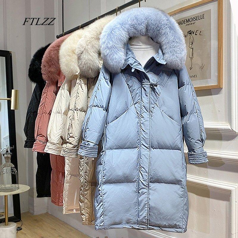 FTLZZ Winter Big Real Fur Hooded Jacket New Women 90% Duck Down Long Coat Warm Snow Outwear Horn Button Loose Bule Parkas 201211