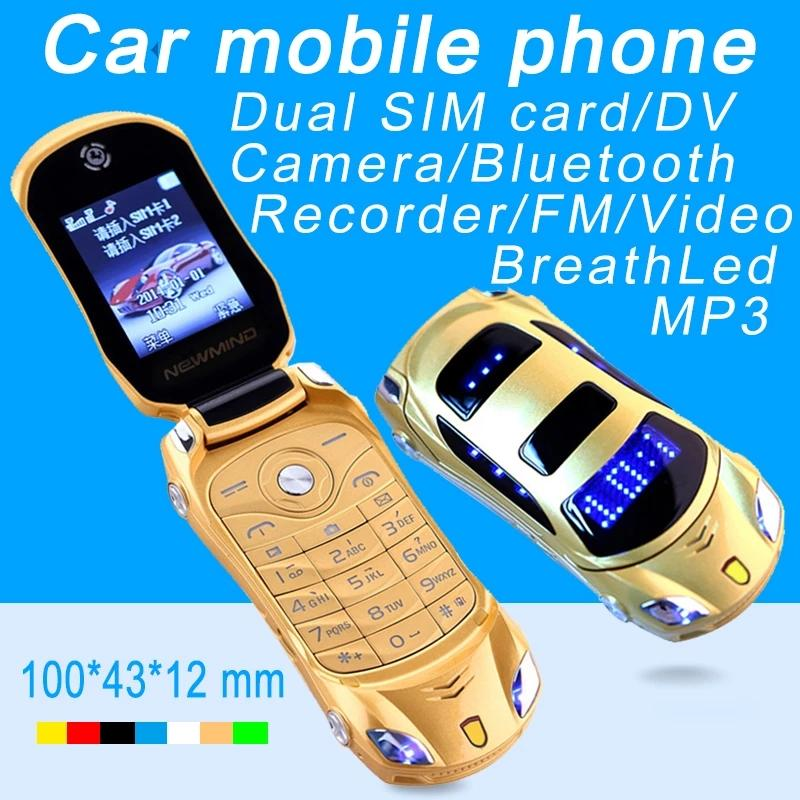 Original Newmind F15 Unlocked Flip Phone LED Licht Cartoon Mini Sportwagen Modell Laterne Bluetooth Mobile Handy Dual SIM Card Celular
