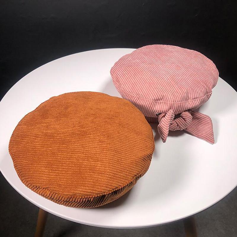 Feminino outono e inverno cor sólida corduroy beret retrô laço selvagem pintor chapéu