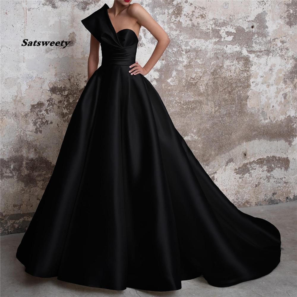 Vestidos De Gala Satin Evening Prom Dresses Long 2021 Black Formal Dresses One Shoulder Ball Gown Abiye Gece Elbisesi