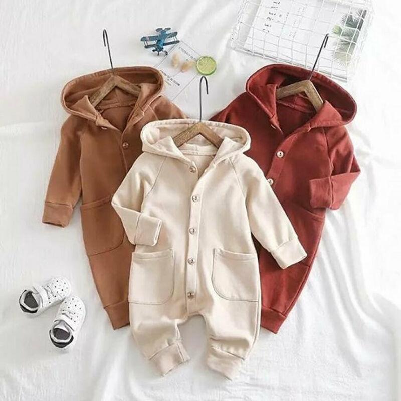 2019 bebé primavera otoño ropa recién nacido bebé bebé niño niñas niño sólido manga larga encapuchado botones botones mameluco invierno caliente q1215