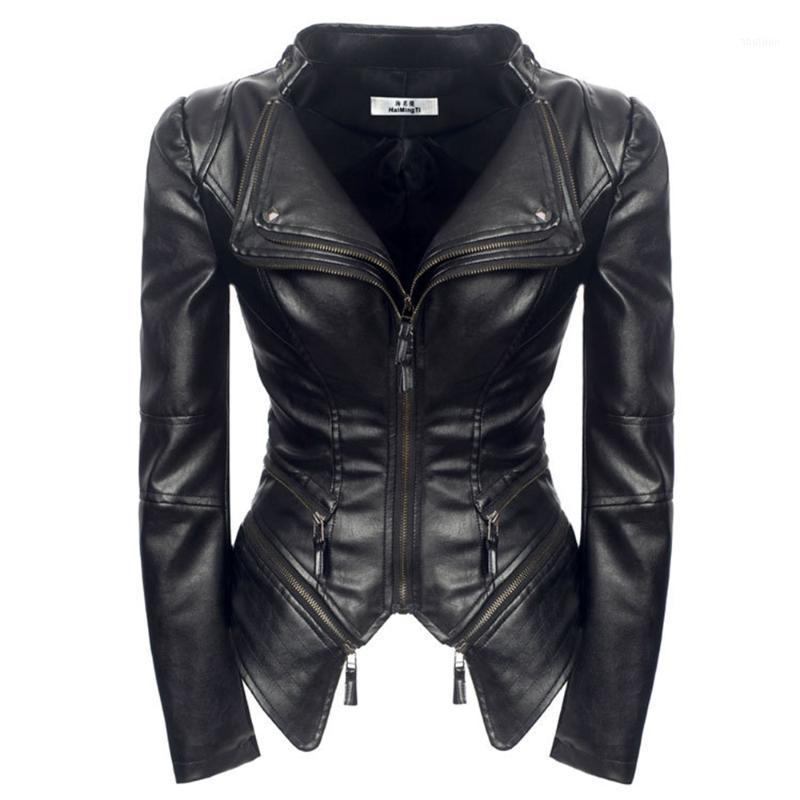 Женские Куртки Женская Куртка Черная Мода Верхняя одежда Искусственная кожа PU Готические Пальто 2021 Весенний Мотоцикл Cool Jackets1