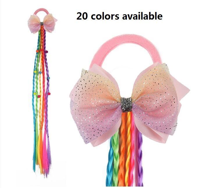 Novo 4.5inch Lace Flor Bowknot Twist Wig Headband Meninas Elastic Hairband Hairband Faixa de Cabelo Cabelo Titular Bebê Meninas Acessórios de Cabelo 30pcs /