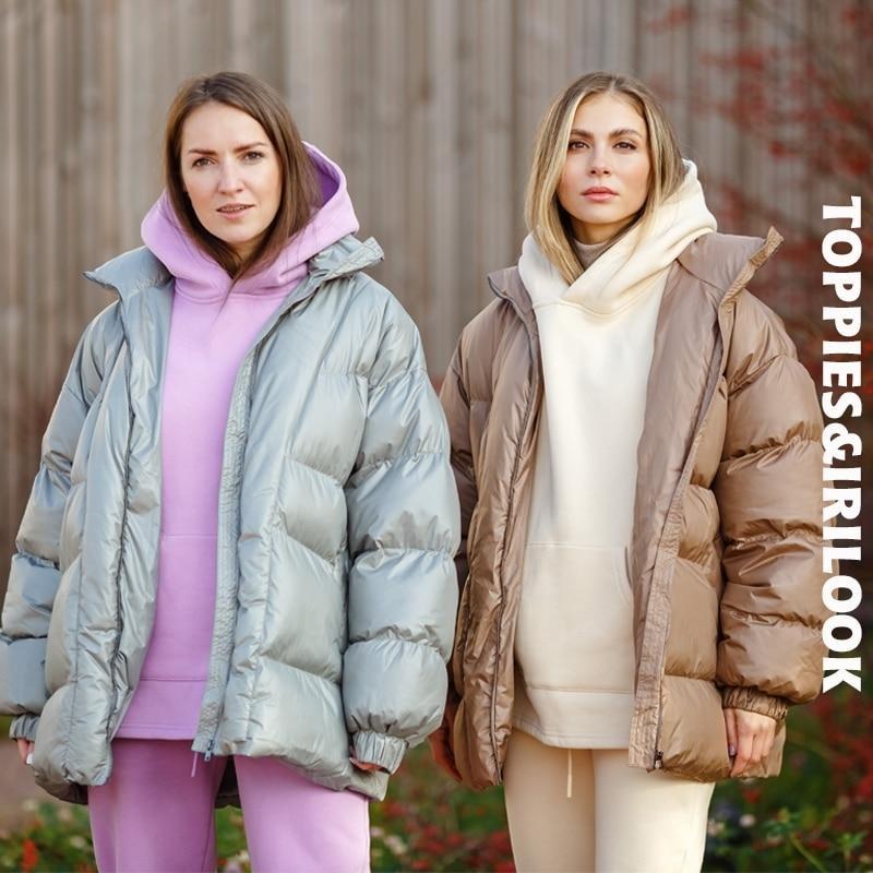 Winterjackenmäntel Übergroße Parkas frau Kugeljacke weibliche dickere warme gepolstete Kleidung lose Outwear