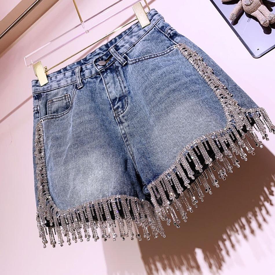 Женщины 2021 Новая Сценарная бахрома Высокая талия Джинсовая Модная тяжелая промышленность Широкие джинсы Шорты Джинсов VS6M