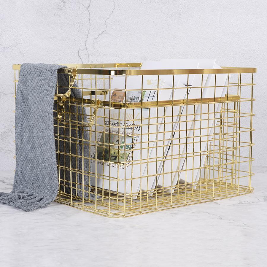 Nordic с ручкой Железное Хранение Розовое Золото Большая Грязная Одежда Кухонная Корзина для чистки