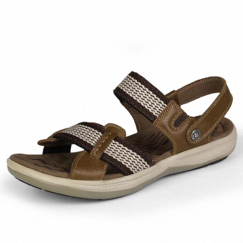 Hombres casuales Sandalias Hombres transpirables Zapatos de verano Sandalias de cuero genuinas Gladiador Romano Verano Playa al aire libre # QA5I