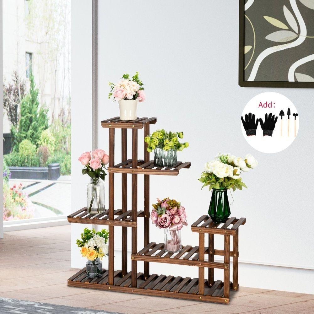 Bambù in legno 5 livelli stanta stand coperto giardino giardino esterno piantatore pentola stand scaffale decorazione patio domestica con strumenti