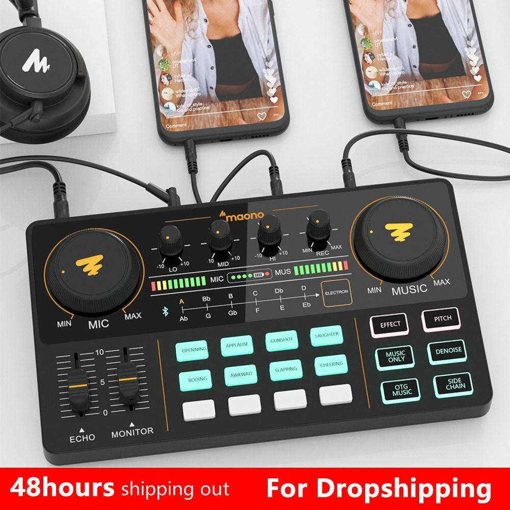 ميكروفون خلاط المهنية قابل للتعديل حجم الصوت USB أداة قابلة للشحن كيت مكبر للصوت مع بطاقة الصوت للبث المباشر