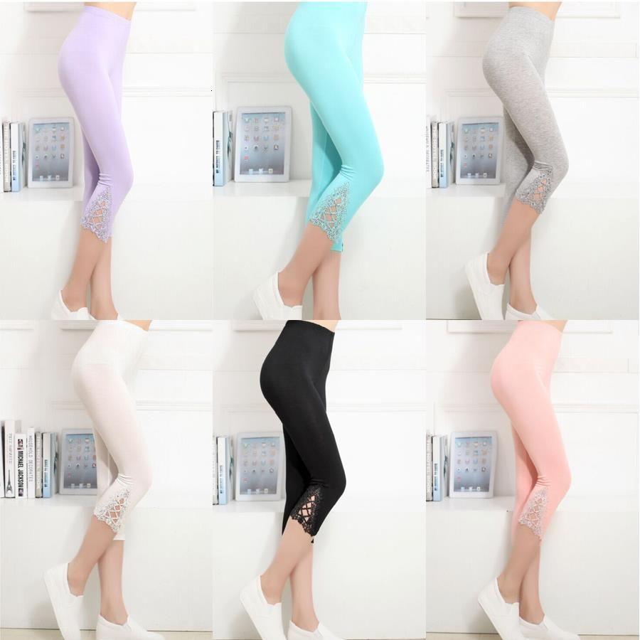 Casual Solid High Taille Crop Leggings Frauen 3/4 Länge Kurz Capri Croppte Spitze Sommer Moderne Hosenhose