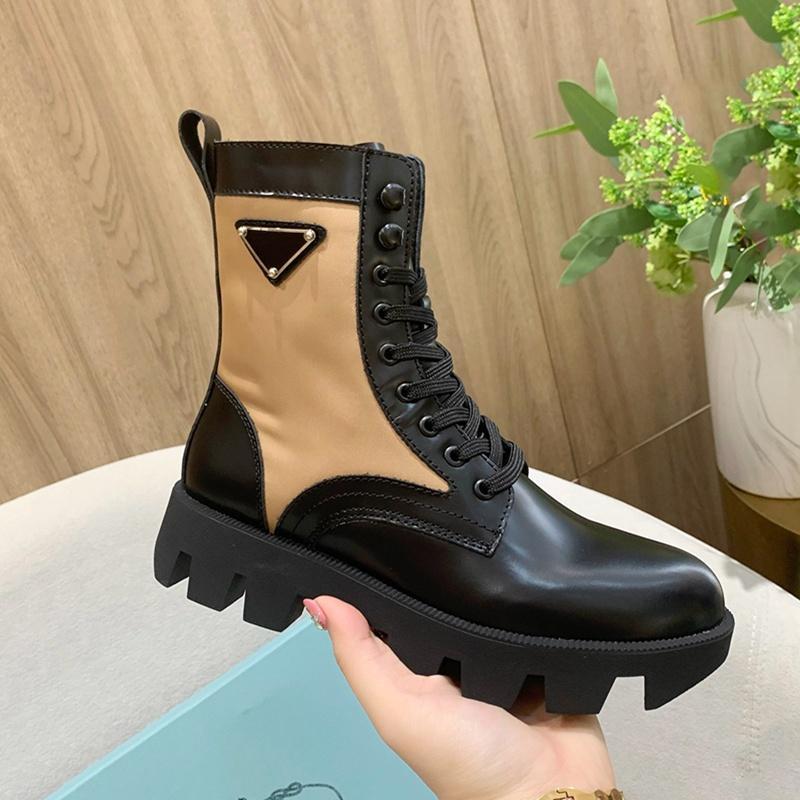 Bayan Fırçalanmış Deri Bağcıklı Patik Üçlü Siyah Kahverengi Kadın Moda Ayak Bileği Platformu Çizmeler Bayan Kar Martin Boot Kış Rahat Kovboy