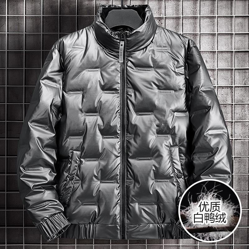 Cara brillante con la chaqueta de la cara de los hombres del invierno de los hombres use la pervernadero del abrigo casual versátil resistente al viento resistente al viento a prueba de viento en espesor cálido