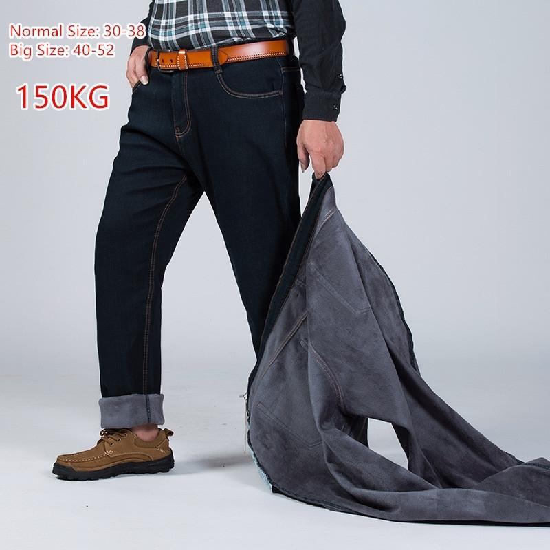 150 KG Sıcak Kot Kalınlaşmak Siyah Erkekler Elastik Yüksek Bel Adam Kış Pantolon Büyük Boy 44 46 48 50 52 Klasik Denim Fleece Pantolon 201111