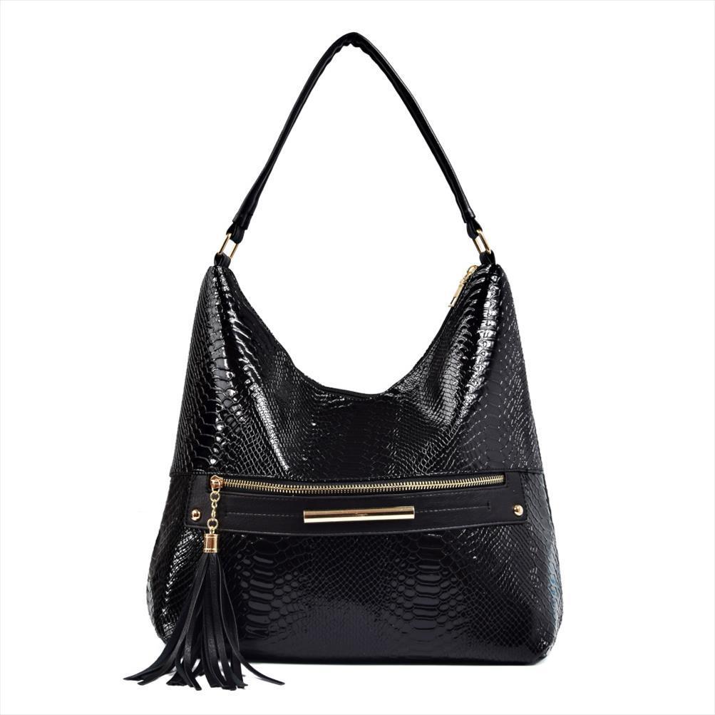 Mulheres Tassel PU Leather Hobos sacos de ombro Zipper Designer Padrão Cobra Grande Handle Top sacola bolsas para senhoras