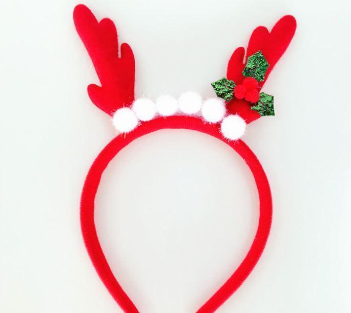 2018 weihnachten weiße haare kugeldekoration mini deer hörner stirnband reif mit party mode nette rot einfache haare zubehör1