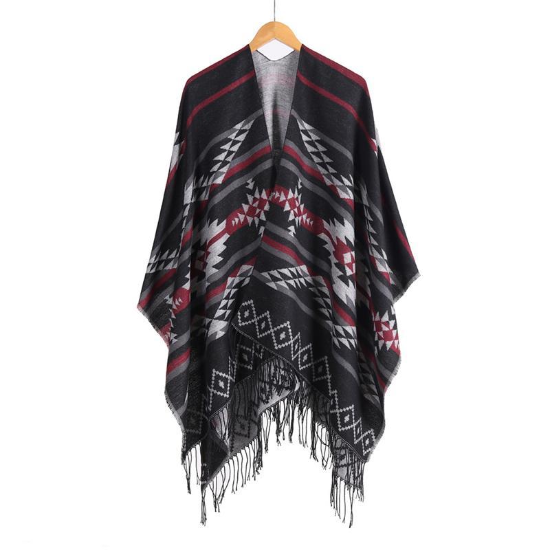 2020 New Arrival Folk Custom Womens Shawl Ladies Shawl Geometric Print Keep Warm Cashmere-like Scarf Shawl 20121405XL