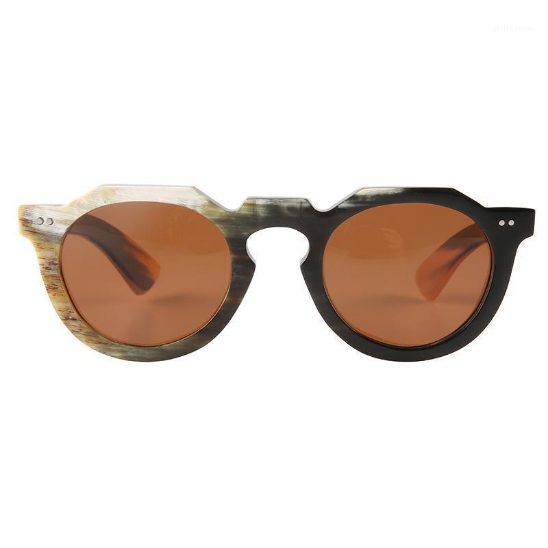 Sonnenbrille Große große übergroße Blumenbrücke Nieten dekorierte ovale runde Hornrahmen polarisierte Brillengläsern1