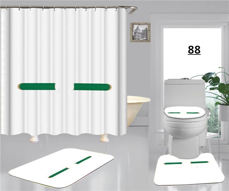 Blanco Alta Calidad Cubiertas de asiento de inodoro Conjuntos Red Green Stripe Marcas clásicas Cortina de ducha Cubierta de baño Cubierta de pie No-Slip Letra Alfombra