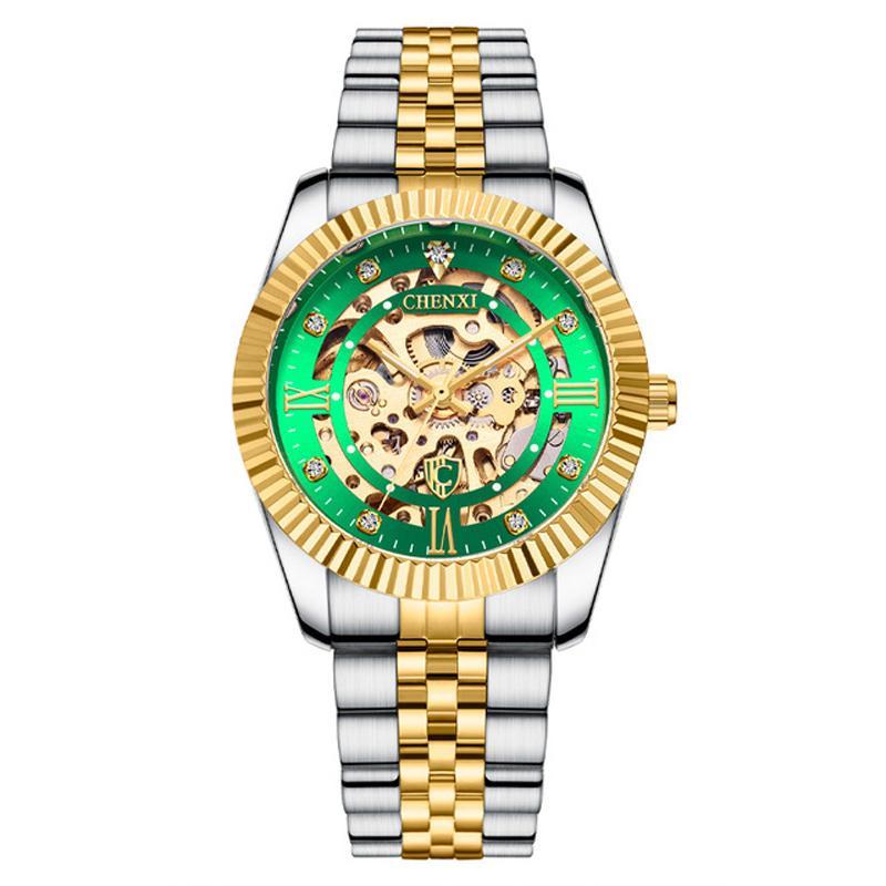 Chenxi هيكل عظمي جوفاء ساعة اليد الحركة التلقائية الأعمال 2021 الرياضة ووتش الذهب والفضة الفولاذ المقاوم للصدأ مشبك الاتصال الهاتفي