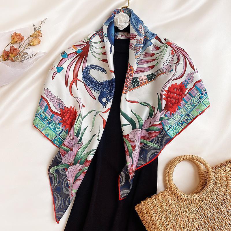 Scarves 2021 Twill Silk Scarf Women Neck Headband Fashion Neckerchief Bandana Foulard Femme Hijab Poncho Shawls1