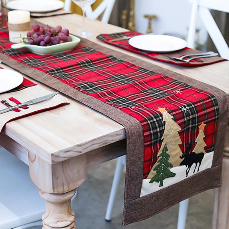 Настольная ткань Рождественская теплоизоляция прокладка перчатки бегун бегун вина крышка дерева юбка
