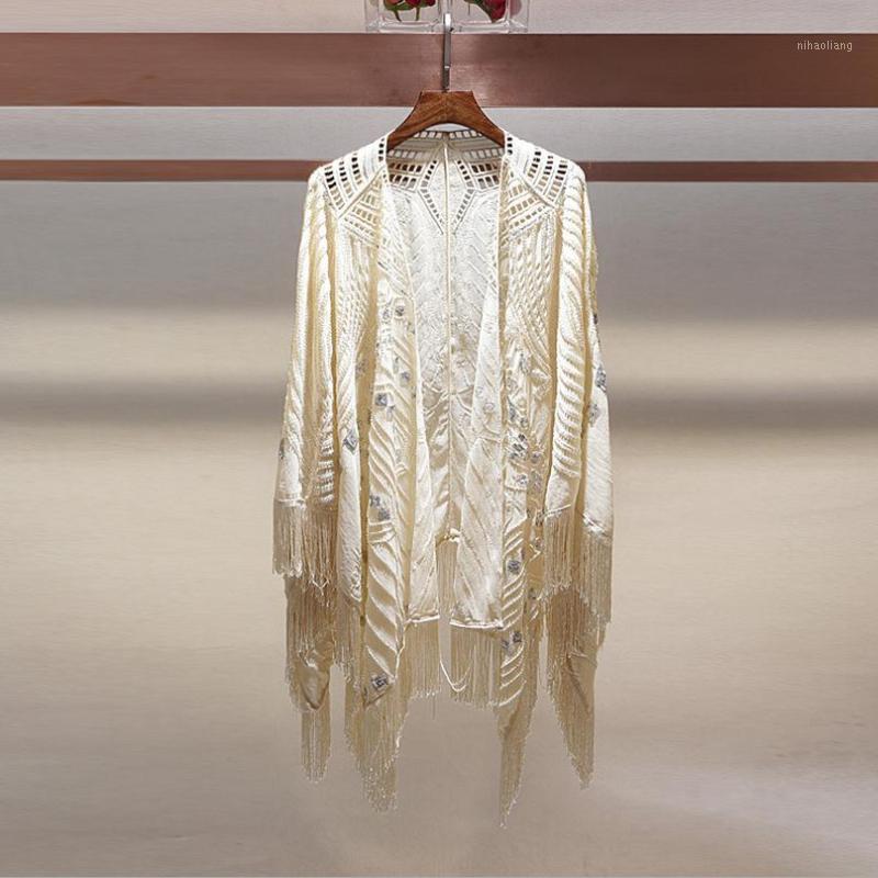 Toptan-Sequins Püsküller Asılı Boncuk Güneş Koruma Giyim 2017 Dış Sunscreen Giyim Şal Klimalı Gömlek Cardigan W10121